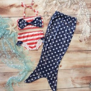 Other - Girls Patriotic Swimsuit & Mermaid Tail Coverup